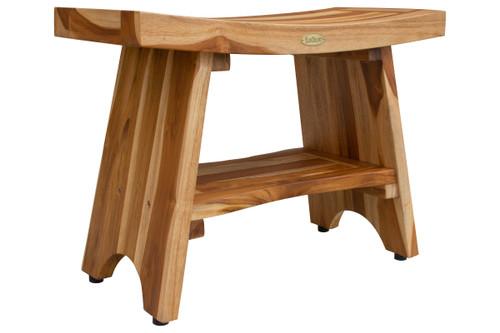 "EcoDecors Serenity 24"" Teak Wood Shower Bench with Shelf in EarthyTeak Finish"