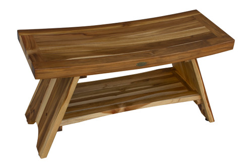 "EcoDecors Serenity 35"" Teak Wood Shower Bench with Shelf in EarthyTeak Finish"