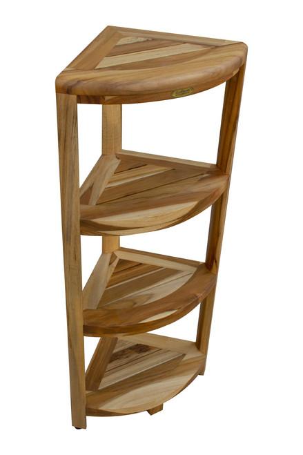 "EcoDecors Oasis 38"" Teak Wood Fully Assembled 4-Tier Corner Shelf in EarthyTeak Finish"