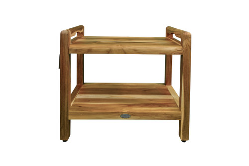 "EcoDecors Eleganto 24"" Teak Wood Shower Bench with LiftAide Arms and Shelf in EarthyTeak Finish"