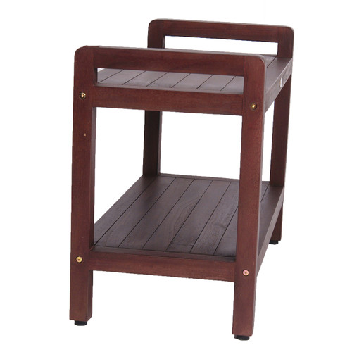 "DecoTeak Eleganto 29"" Teak Wood Shower Bench with LiftAide Arms and Shelf in Woodland Brown Finish"