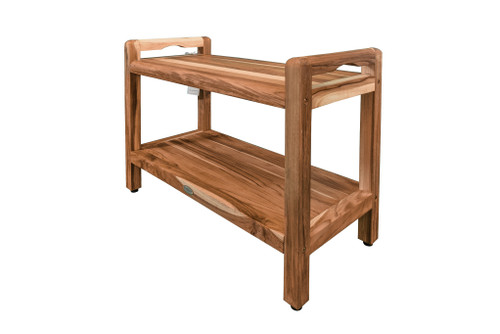 "EcoDecors Eleganto 29"" Teak Wood Shower Bench with LiftAide Arms and Shelf in EarthyTeak Finish"