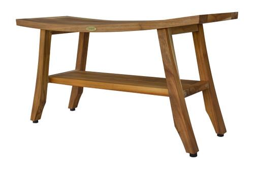 "EcoDecors Satori 34"" Teak Wood Shower Bench with Shelf in EarthyTeak Finish"