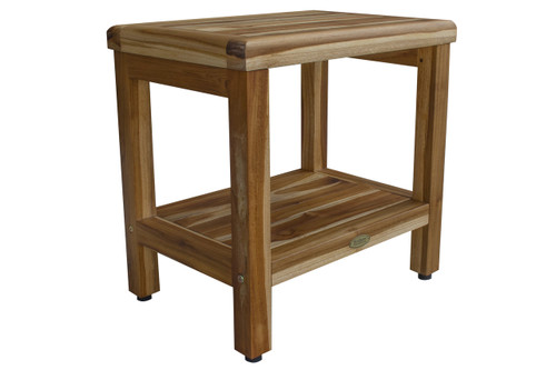 "EcoDecors Eleganto 18"" Teak Wood Shower Bench with Shelf in EarthyTeak Finish"