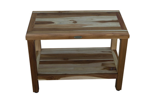 "EcoDecors Eleganto 24"" Teak Wood Shower Bench with Shelf in EarthyTeak Finish"