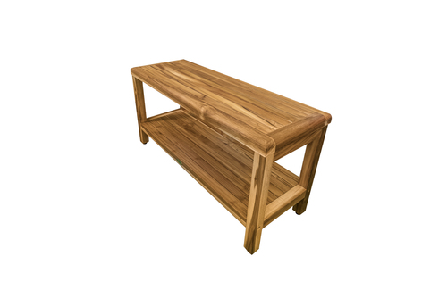 "EcoDecors Eleganto 35"" Teak Wood Shower Bench with Shelf in EarthyTeak Finish"