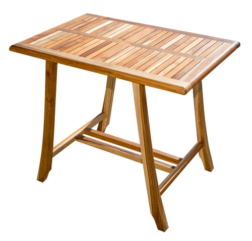 "EcoDecors Satori 35"" x 23.5"" x 30"" Teak Wood Table in EarthyTeak Finish"