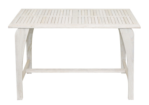 "CoastalVogue Tranquility 47.25"" x ""27.5"" x ""30"" Teak Wood Table in Coastal Driftwood Finish"