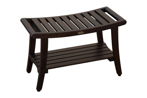 "DecoTeak Harmony 30"" Teak Wood Shower Bench with Shelf and LiftAide Arms in Woodland Brown Finish"