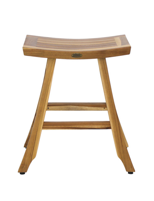 "EcoDecors Satori 24"" Teak Wood Counter Stool in EarthyTeak Finish"