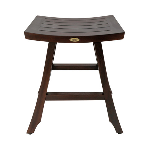 "DecoTeak Satori 24"" Teak Wood Counter Stool in Woodland Brown Finish"