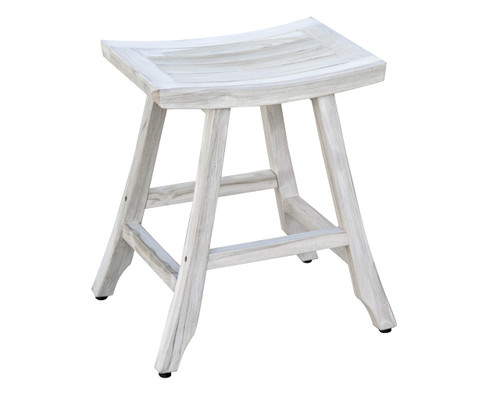 "CoastalVogue Satori 24"" Teak Wood Counter Stool in Coastal Driftwood Finish"