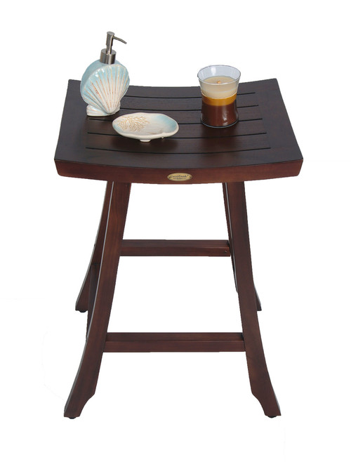 "DecoTeak Satori 30"" Teak Wood Counter Stool in Woodland Brown Finish"