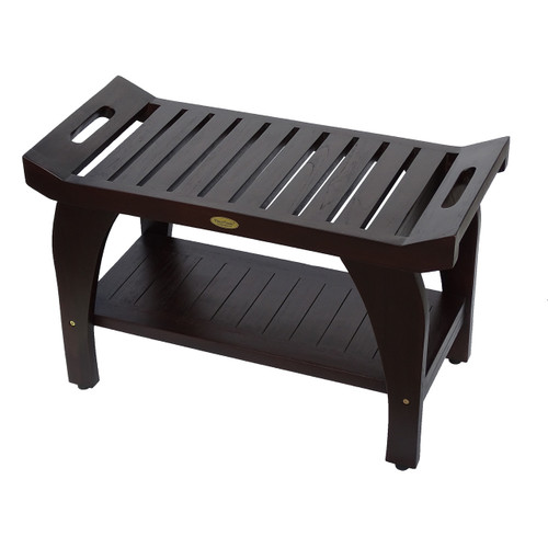 """DecoTeak Tranquility 30"""" Teak Wood Shower Bench with Shelf and LiftAide Arms in Woodland Brown Finish"""
