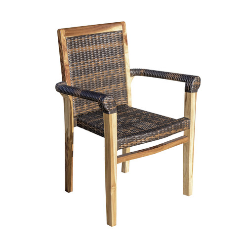 EcoDecors Teak Wood Fully Assembled Stacking Arm Chair with Viro Rattan Seat in EarthyTeak Finish