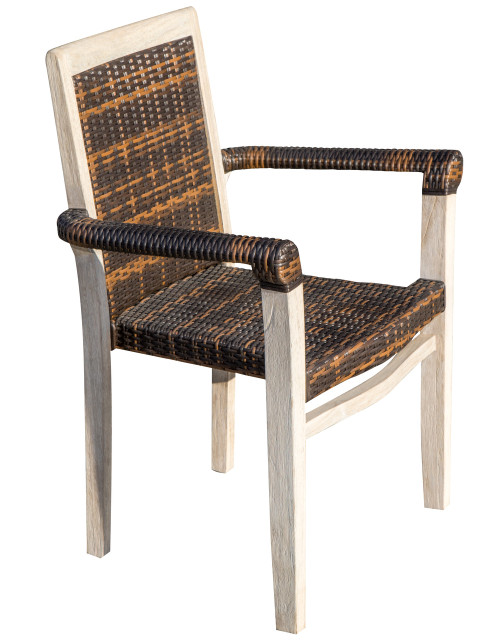 CoastalVogue Teak Wood Fully Assembled Stacking Arm Chair with Viro Rattan Seat in Coastal Driftwood Finish