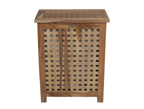 "EcoDecors Espalier 25"" Teak Wood Double Laundry Storage Hamper with Removable Bag in EarthyTeak Finish"