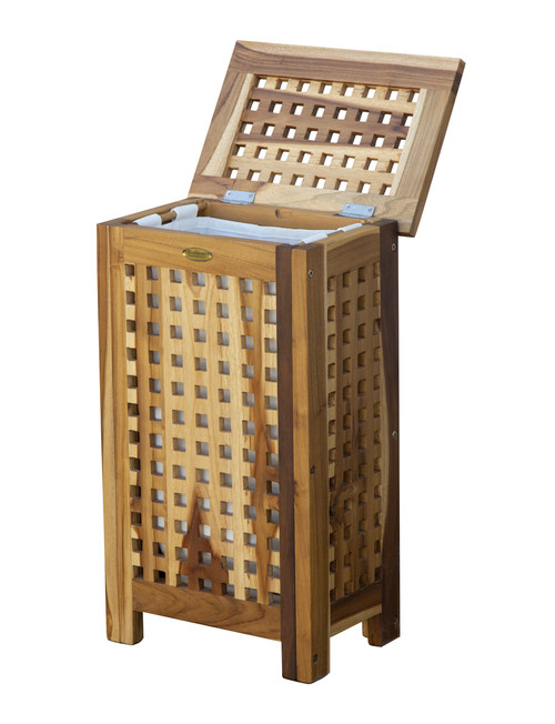 "EcoDecors Espalier 24"" Teak Wood Compact Laundry Storage Hamper with Removable Bag in EarthyTeak Finish"