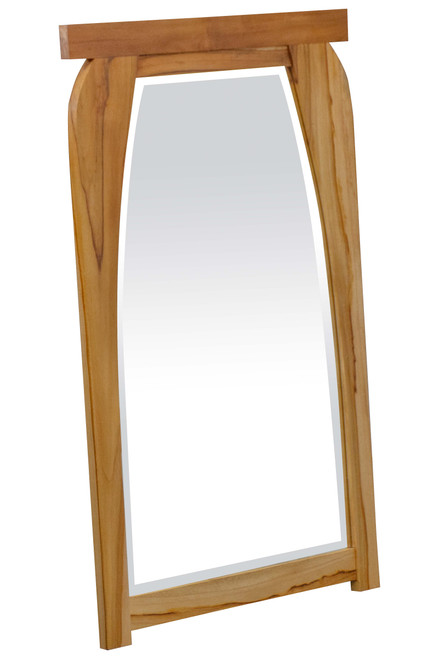 "EcoDecors Tranquility 24"" x 35"" Teak Wood Fully Assembled Wall Mirror in EarthyTeak Finish"