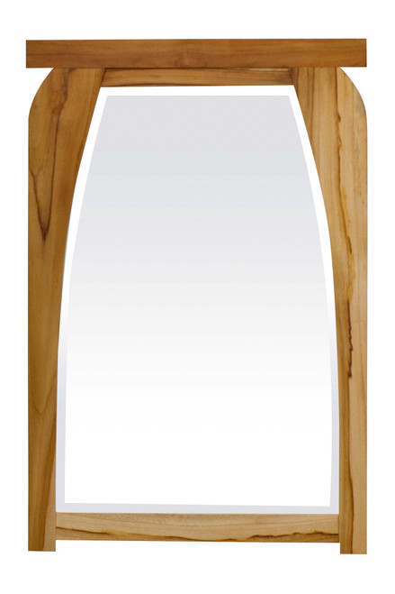 """EcoDecors Tranquility 24"""" x 35"""" Teak Wood Fully Assembled Wall Mirror in EarthyTeak Finish"""