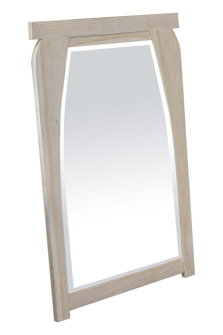 "CoastalVogue Tranquility 24"" x 35"" Teak Wood Fully Assembled Wall Mirror in Coastal Driftwood Finish"