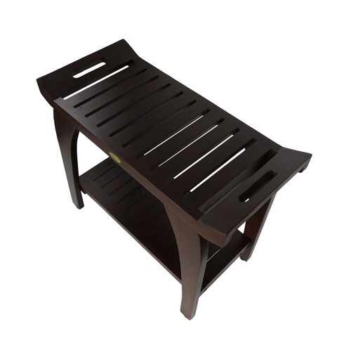 "DecoTeak Tranquility 30"" Teak Wood Tall Shower Bench with Shelf and LiftAide Arms in Woodland Brown Finish"