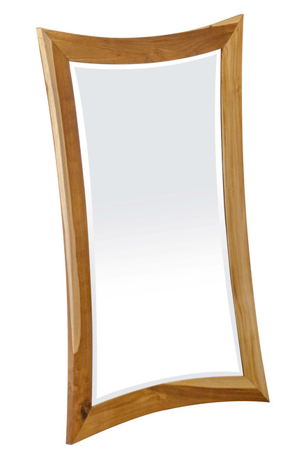 "EcoDecors Curvature 24"" x 35"" Teak Wood Fully Assembled Wall Mirror in EarthyTeak Finish"