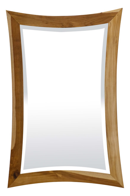 """EcoDecors Curvature 24"""" x 35"""" Teak Wood Fully Assembled Wall Mirror in EarthyTeak Finish"""