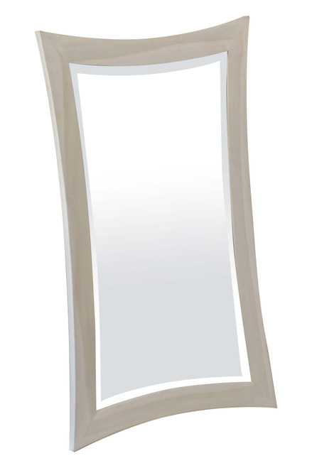 "CoastalVogue Curvature 24"" x 35"" Teak Wood Fully Assembled Wall Mirror in Coastal Driftwood Finish"