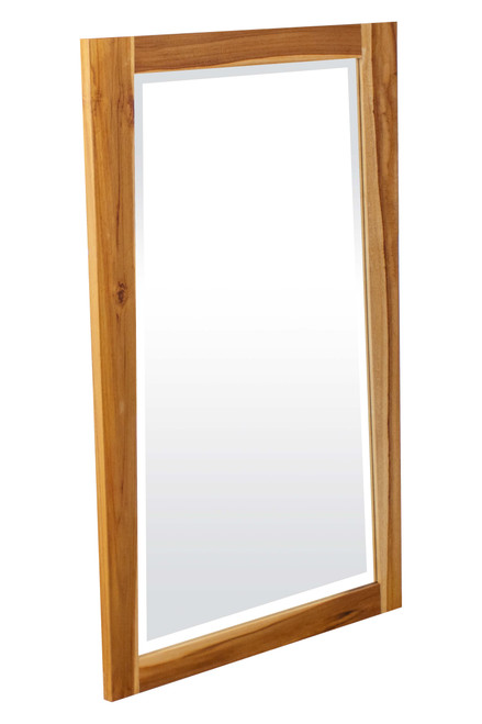 "EcoDecors Significado 24"" x 35"" Teak Wood Fully Assembled Wall Mirror in EarthyTeak Finish"