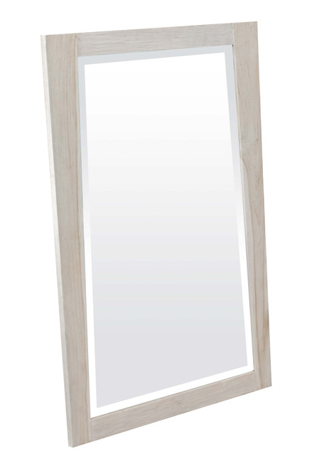 "CoastalVogue Significado 24"" x 35"" Teak Wood Fully Assembled Wall Mirror in Coastal Driftwood Finish"