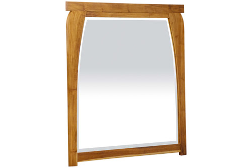 "EcoDecors Tranquility 36"" x 35"" Teak Wood Fully Assembled Wall Mirror in EarthyTeak Finish"