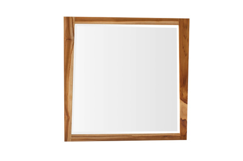 """EcoDecors Significado 36"""" x 35"""" Teak Wood Fully Assembled Wall Mirror in EarthyTeak Finish"""