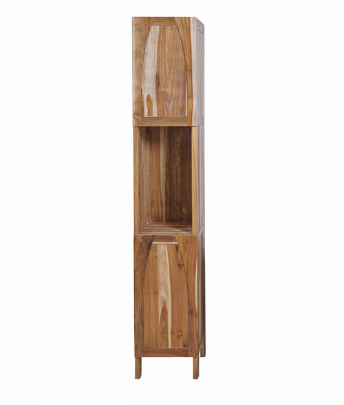 "EcoDecors Tranquility 79"" Teak Wood Fully Assembled Free Standing Linen Tower in EarthyTeak Finish"