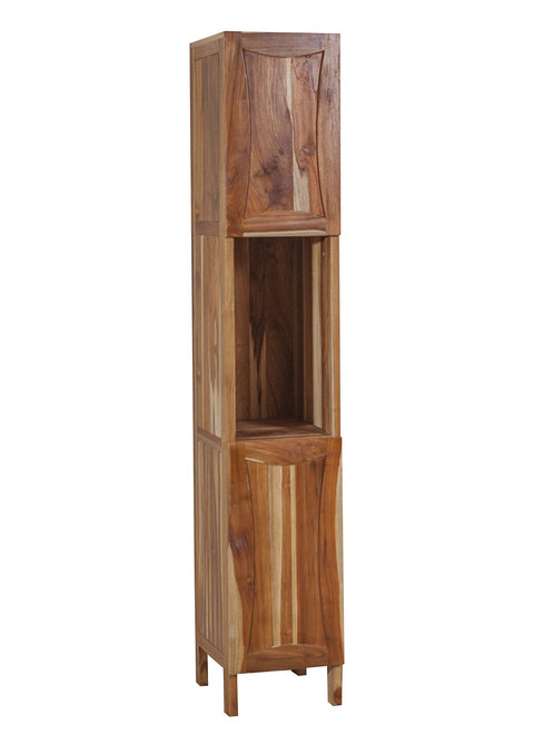 "EcoDecors Curvature 79"" Teak Wood Fully Assembled Free Standing Linen Tower in EarthyTeak Finish"