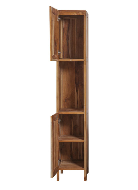 "EcoDecors Significado 79"" Teak Wood Fully Assembled Free Standing Linen Tower in EarthyTeak Finish"