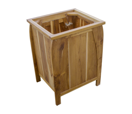 "EcoDecors Tranquility 24"" Teak Wood Fully Assembled Free Standing Bathroom Vanity in EarthyTeak Finish"