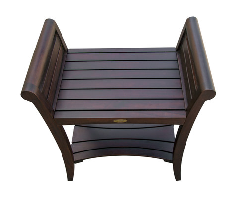 "DecoTeak Symmetry 24"" Teak Wood Tall Shower Bench with Shelf and Curved LiftAide Arms in Woodland Brown Finish"