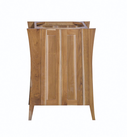 """EcoDecors Curvature 24"""" Teak Wood Fully Assembled Free Standing Bathroom Vanity in EarthyTeak Finish"""