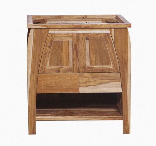 "EcoDecors Tranquility 30"" Teak Wood Fully Assembled Free Standing Bathroom Vanity in EarthyTeak Finish"