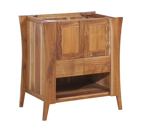 """EcoDecors Curvature 30"""" Teak Wood Fully Assembled Free Standing Bathroom Vanity in EarthyTeak Finish"""