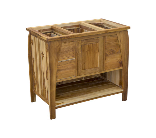 "EcoDecors Tranquility 36"" Teak Wood Fully Assembled Free Standing Bathroom Vanity in EarthyTeak Finish"