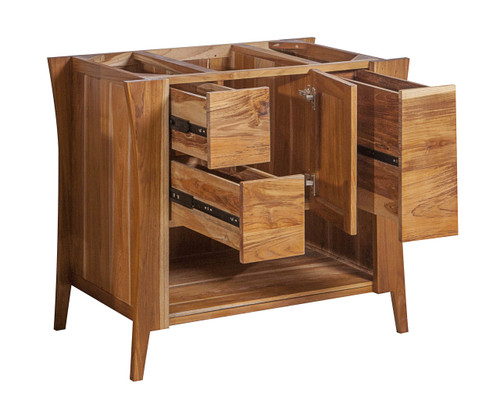 """EcoDecors Curvature 36"""" Teak Wood Fully Assembled Free Standing Bathroom Vanity in EarthyTeak Finish"""