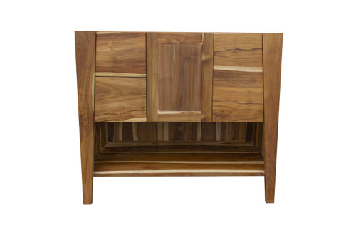 "EcoDecors Significado 36"" Teak Wood Fully Assembled Free Standing Bathroom Vanity in EarthyTeak Finish"