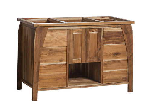 """EcoDecors Tranquility 48"""" Teak Wood Fully Assembled Free Standing Bathroom Vanity in EarthyTeak Finish"""