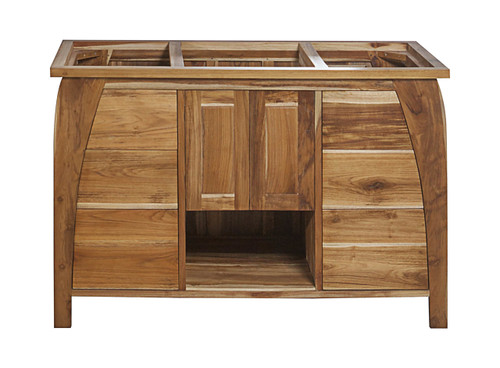 "EcoDecors Tranquility 48"" Teak Wood Fully Assembled Free Standing Bathroom Vanity in EarthyTeak Finish"