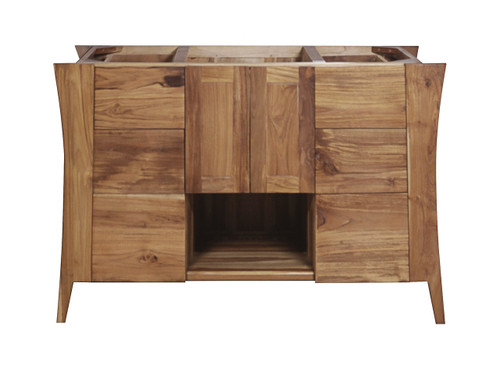 "EcoDecors Curvature 48"" Teak Wood Fully Assembled Free Standing Bathroom Vanity in EarthyTeak Finish"