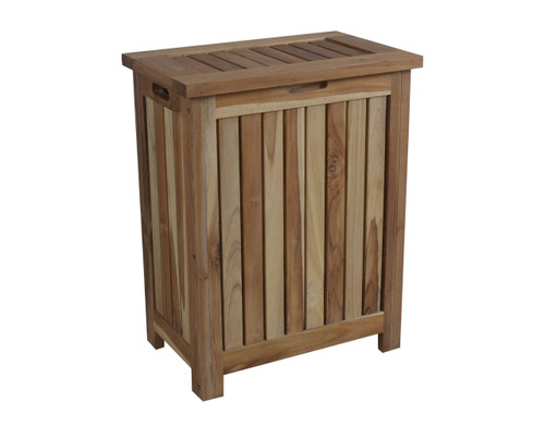 "EcoDecors Eleganto 25"" Teak Wood Double Laundry Storage Hamper with Removable Bags in EarthyTeak Finish"