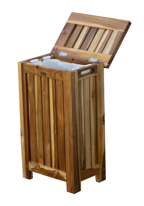 "EcoDecors Eleganto 24""Teak Wood Compact Double Laundry Storage Hamper with Removable Bags in EarthyTeak Finish"