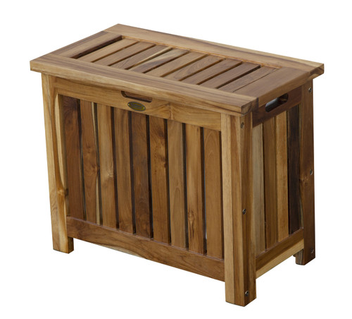 "EcoDecors Eleganto 23"" Wide Teak Wood Double Laundry Storage Hamper with Removable Bags in EarthyTeak Finish"